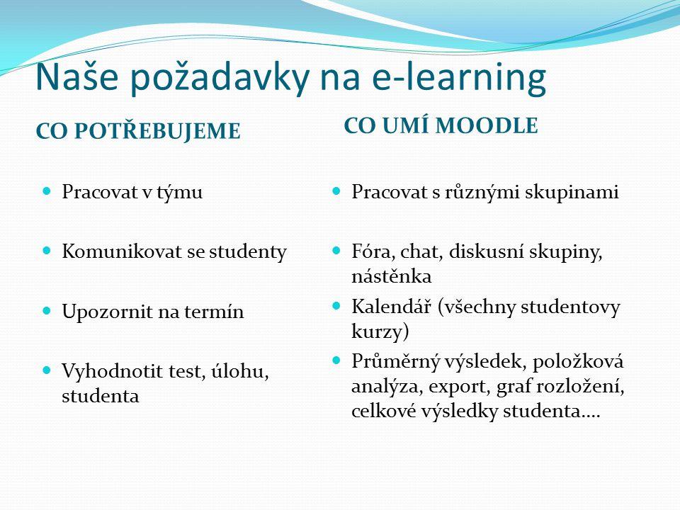Naše požadavky na e-learning