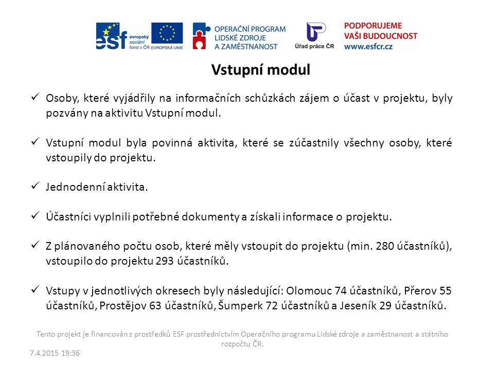 Vstupní modul Osoby, které vyjádřily na informačních schůzkách zájem o účast v projektu, byly pozvány na aktivitu Vstupní modul.