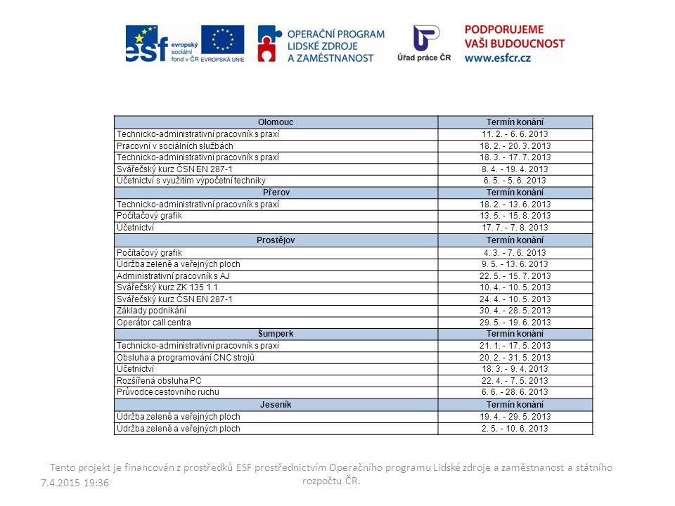 Olomouc Termín konání. Technicko-administrativní pracovník s praxí. 11. 2. - 6. 6. 2013. Pracovní v sociálních službách.