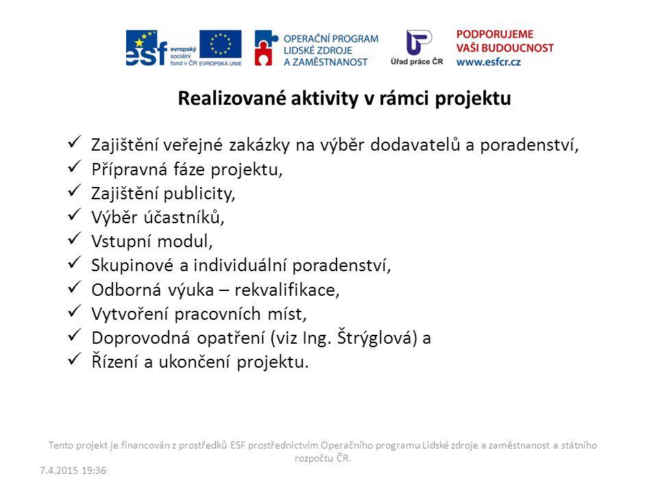 Realizované aktivity v rámci projektu