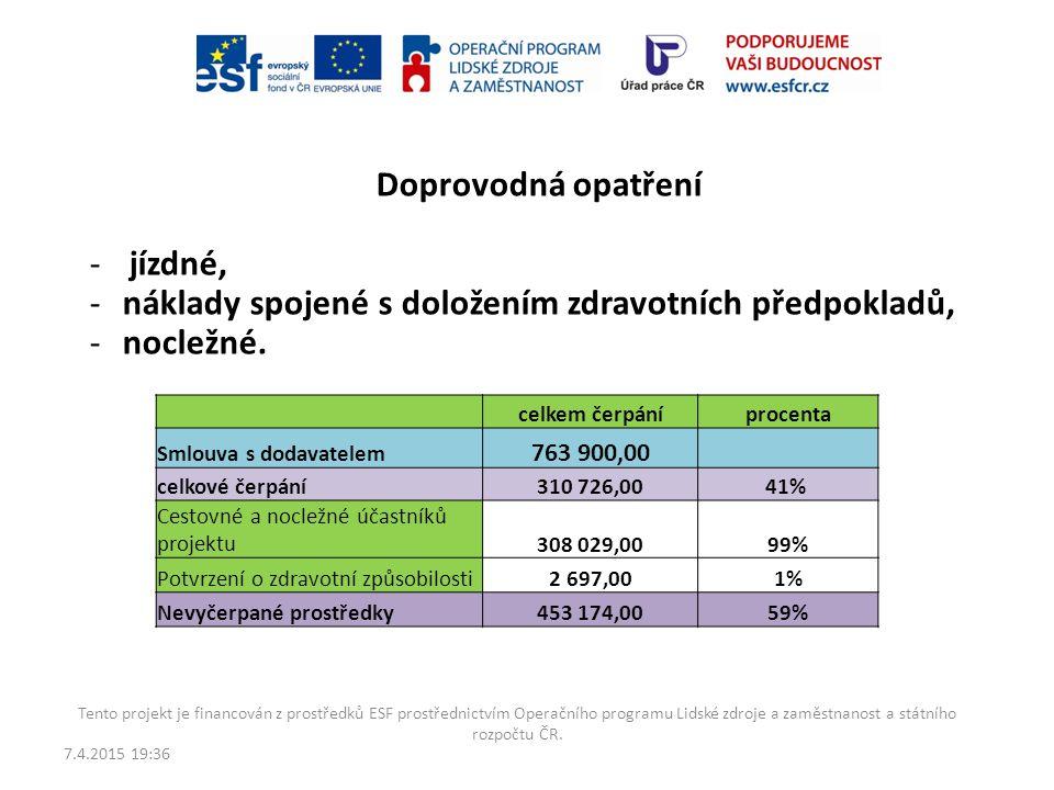 náklady spojené s doložením zdravotních předpokladů, nocležné.