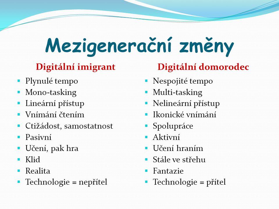 Mezigenerační změny Digitální imigrant Digitální domorodec