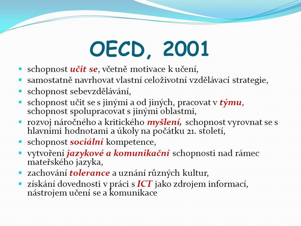 OECD, 2001 schopnost učit se, včetně motivace k učení,