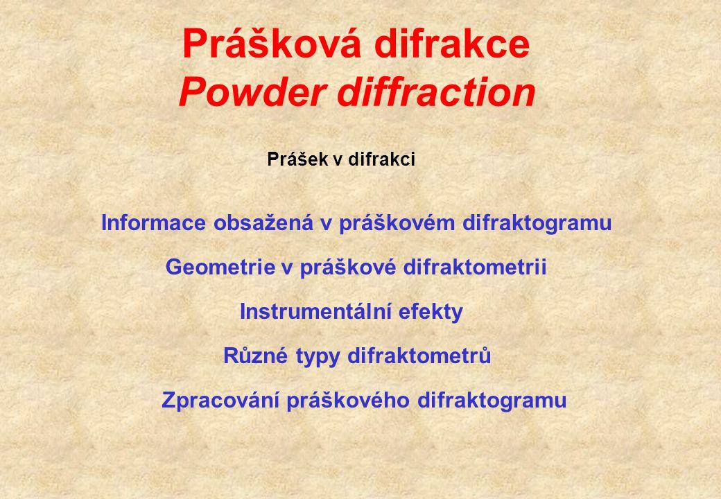 Prášková difrakce Powder diffraction