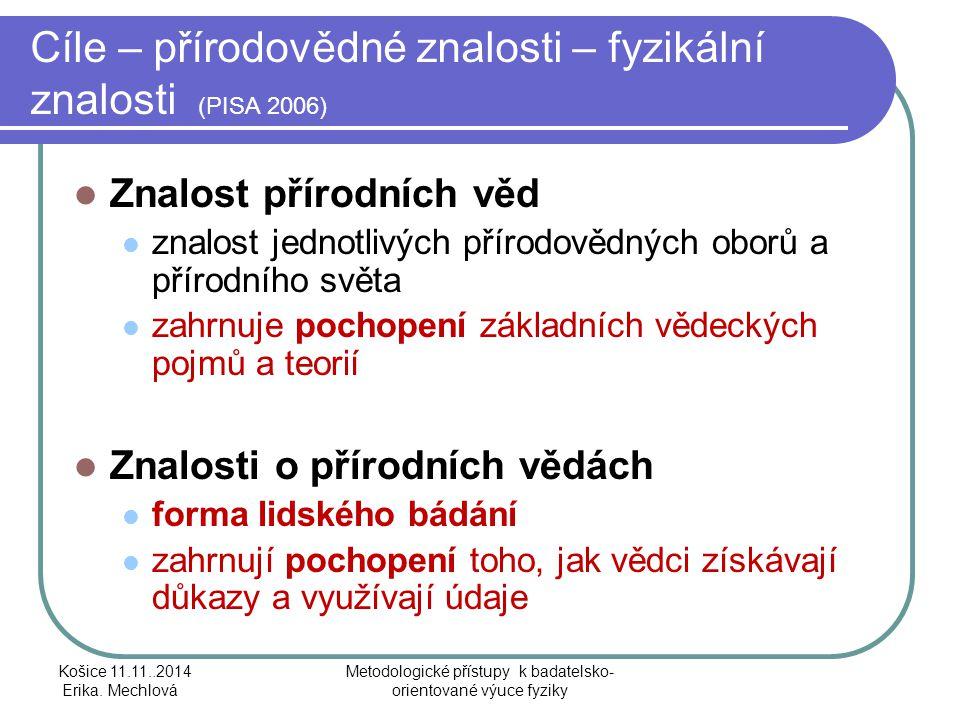 Cíle – přírodovědné znalosti – fyzikální znalosti (PISA 2006)