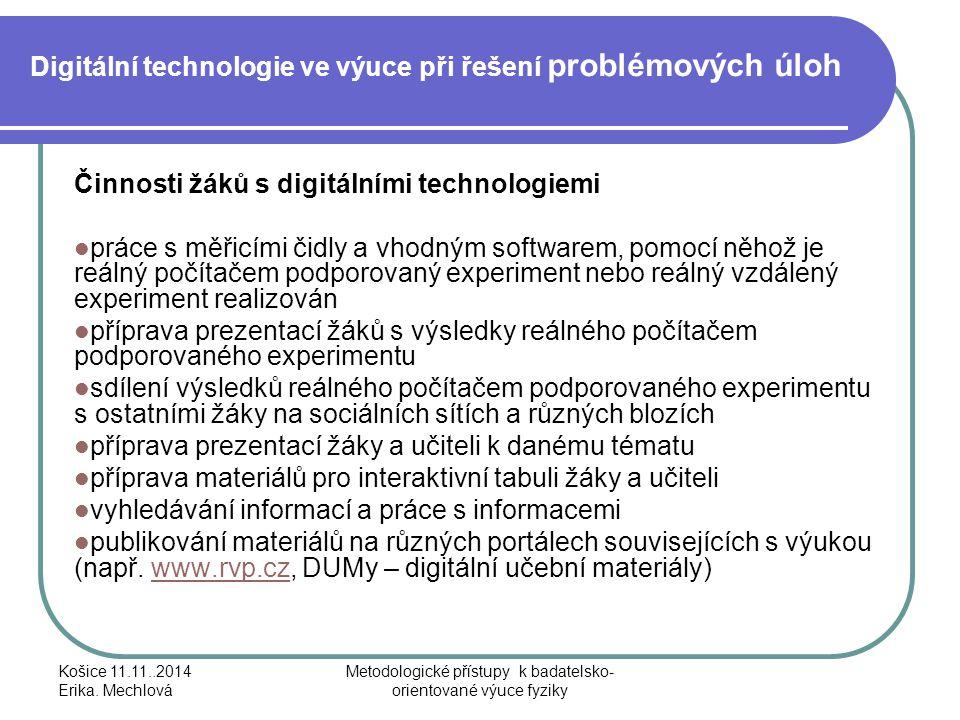 Digitální technologie ve výuce při řešení problémových úloh