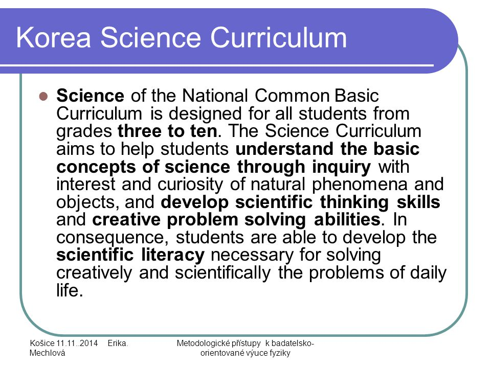 Korea Science Curriculum