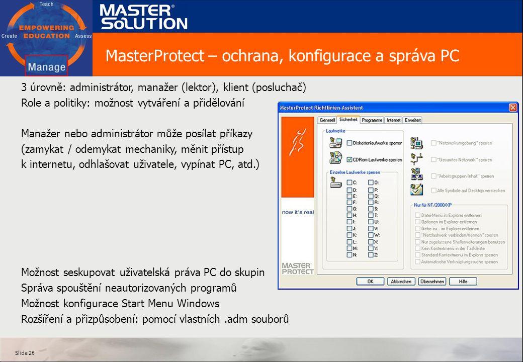 MasterProtect – ochrana, konfigurace a správa PC