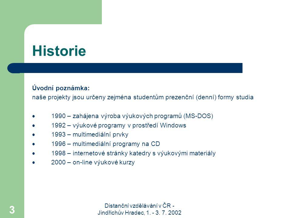 Distanční vzdělávání v ČR - Jindřichův Hradec, 1. - 3. 7. 2002