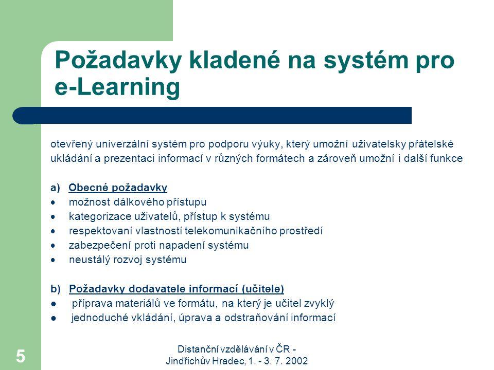 Požadavky kladené na systém pro e-Learning