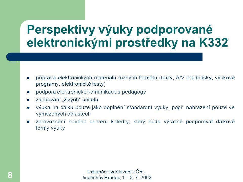 Perspektivy výuky podporované elektronickými prostředky na K332