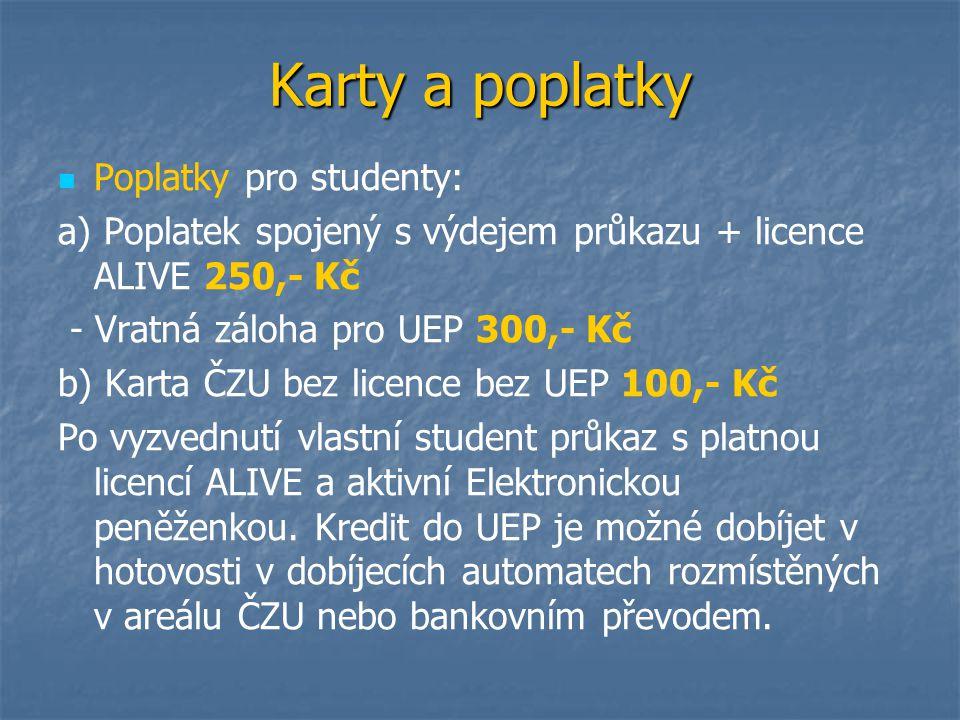 Karty a poplatky Poplatky pro studenty:
