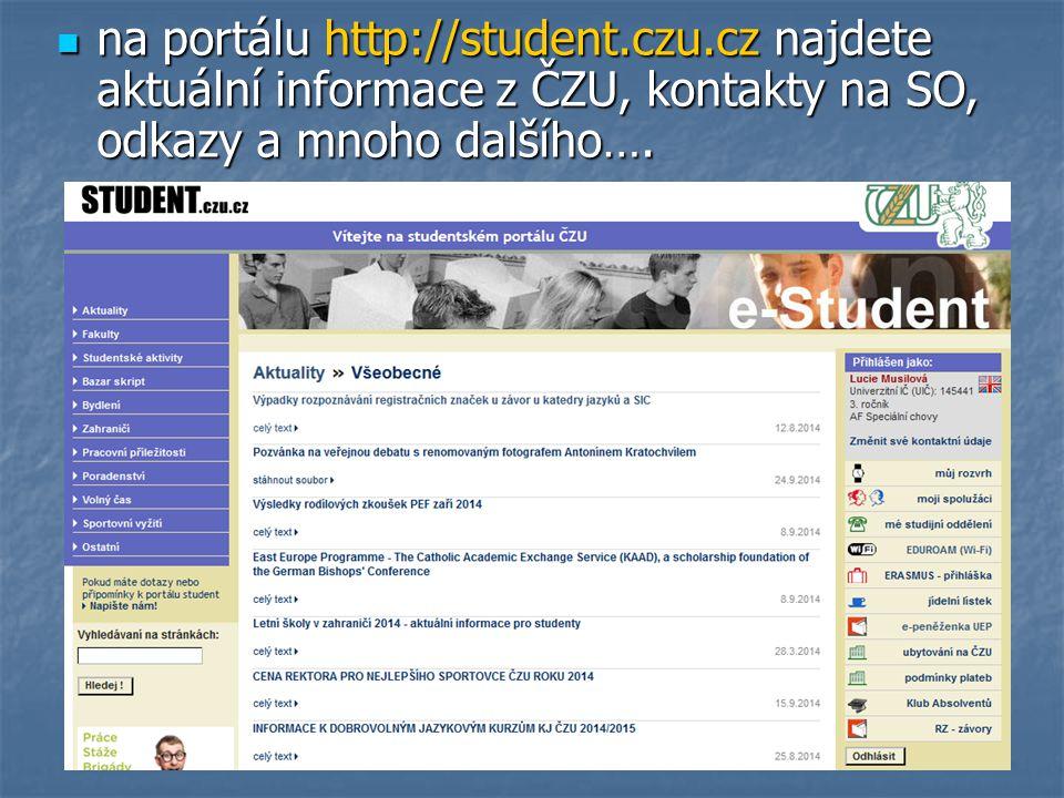 na portálu http://student. czu