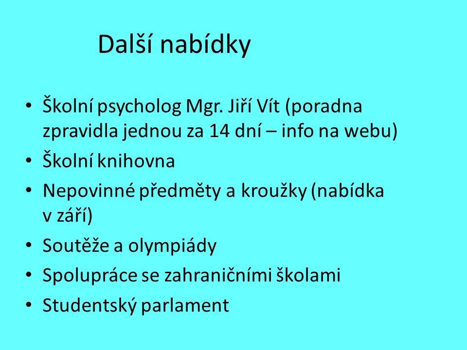 Další nabídky Školní psycholog Mgr. Jiří Vít (poradna zpravidla jednou za 14 dní – info na webu) Školní knihovna.