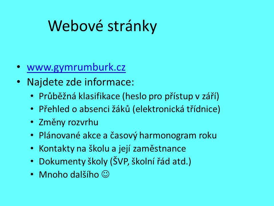 Webové stránky www.gymrumburk.cz Najdete zde informace: