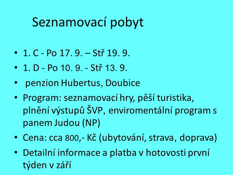 Seznamovací pobyt 1. C - Po 17. 9. – Stř 19. 9.