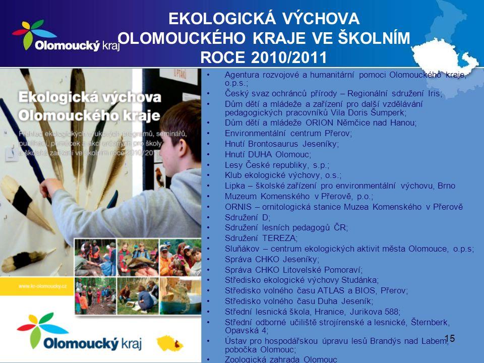 EKOLOGICKÁ VÝCHOVA OLOMOUCKÉHO KRAJE VE ŠKOLNÍM ROCE 2010/2011