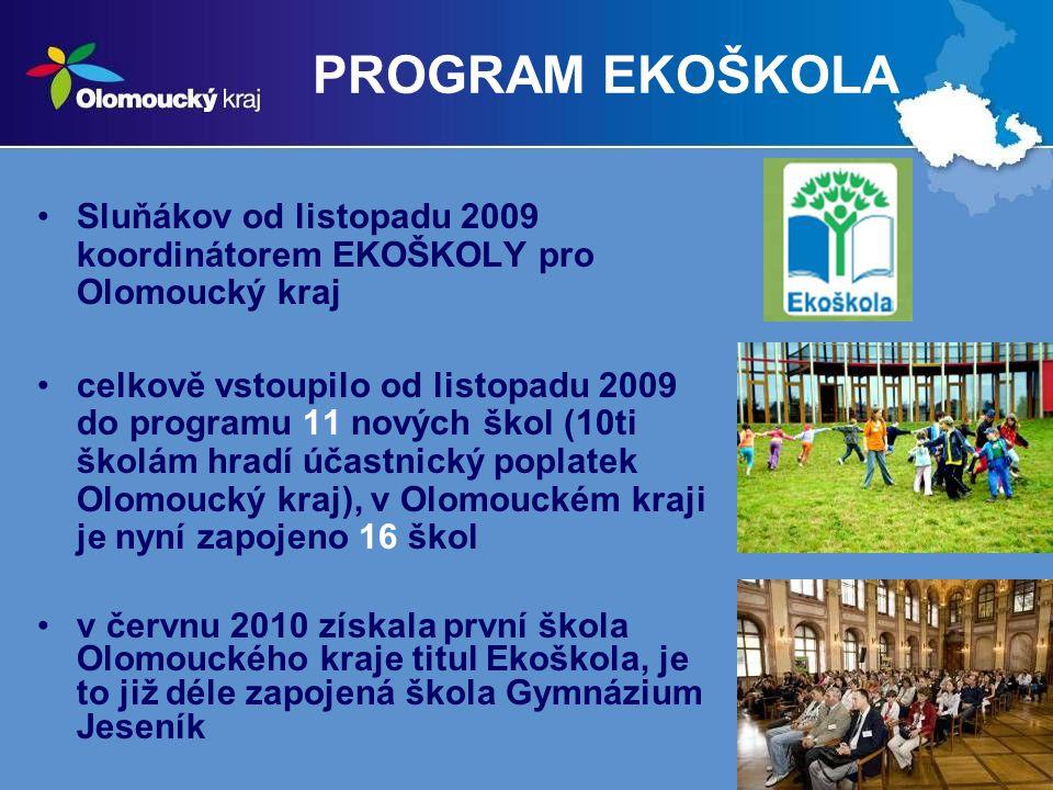PROGRAM EKOŠKOLA Sluňákov od listopadu 2009 koordinátorem EKOŠKOLY pro Olomoucký kraj.
