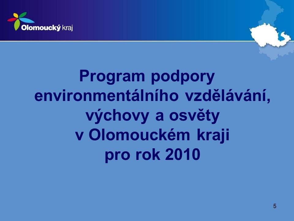 Program podpory environmentálního vzdělávání, výchovy a osvěty v Olomouckém kraji pro rok 2010