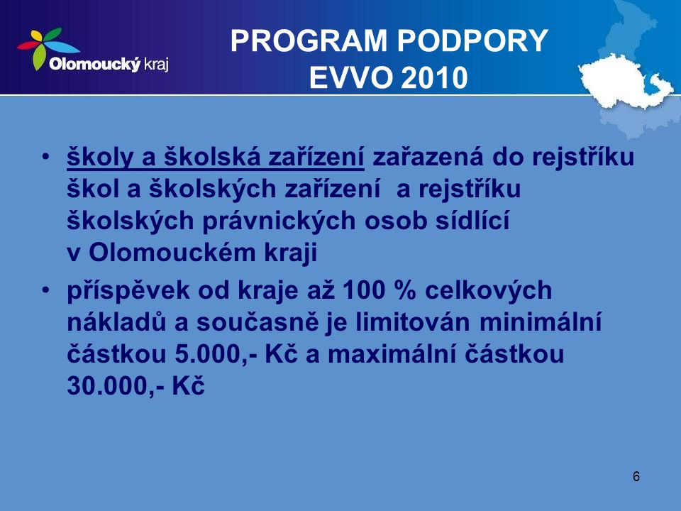 PROGRAM PODPORY EVVO 2010