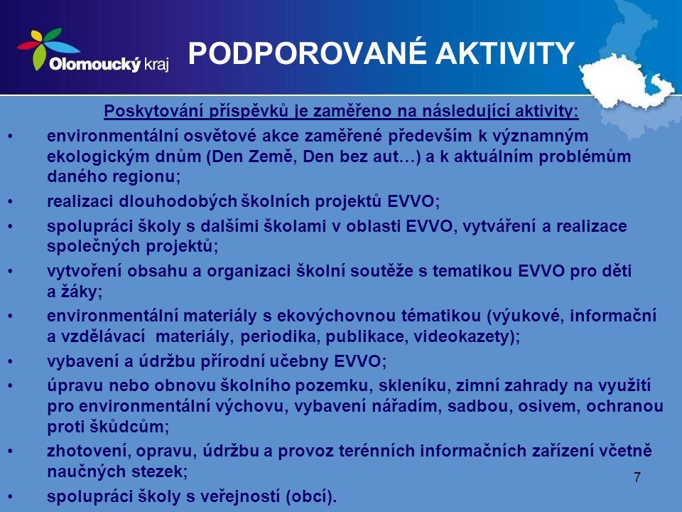 Poskytování příspěvků je zaměřeno na následující aktivity: