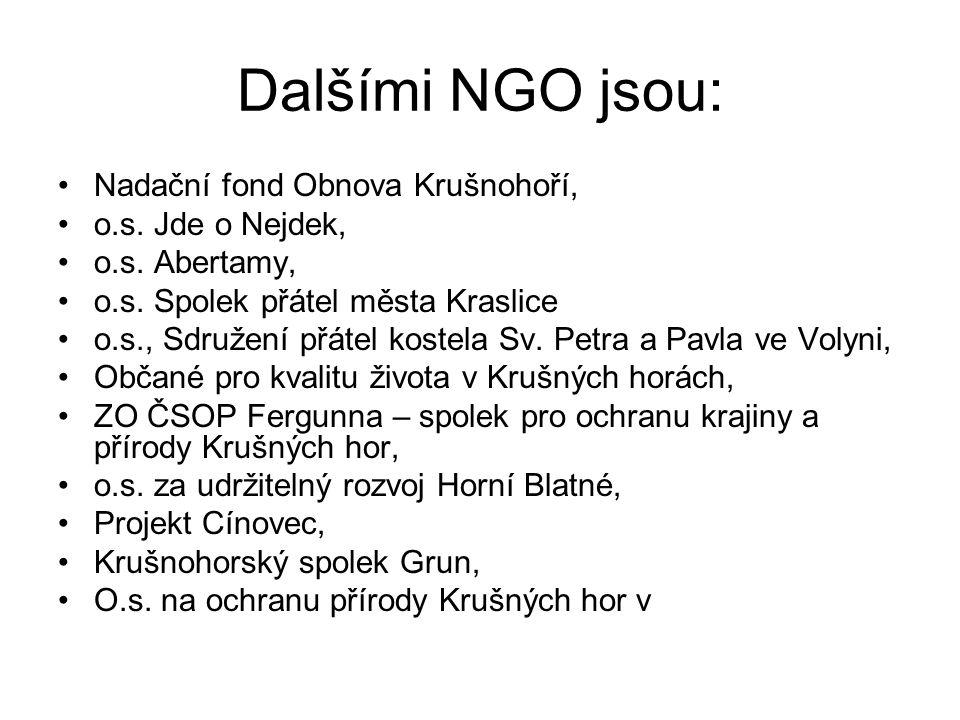 Dalšími NGO jsou: Nadační fond Obnova Krušnohoří, o.s. Jde o Nejdek,