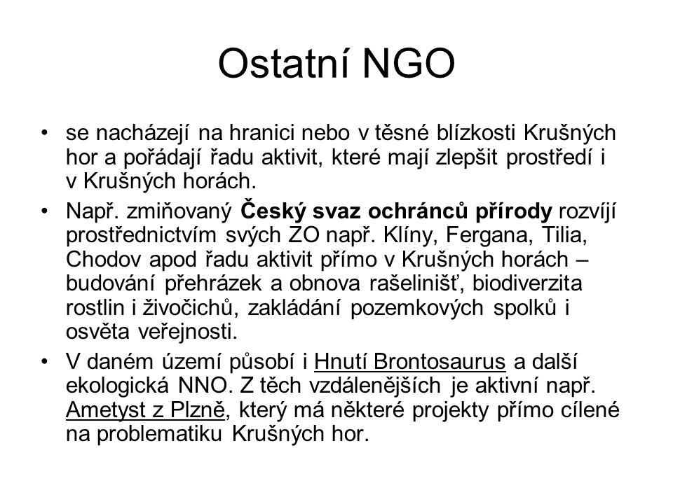 Ostatní NGO se nacházejí na hranici nebo v těsné blízkosti Krušných hor a pořádají řadu aktivit, které mají zlepšit prostředí i v Krušných horách.