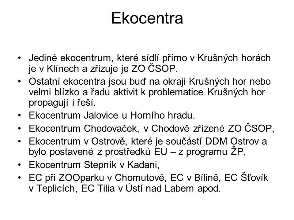 Ekocentra Jediné ekocentrum, které sídlí přímo v Krušných horách je v Klínech a zřizuje je ZO ČSOP.