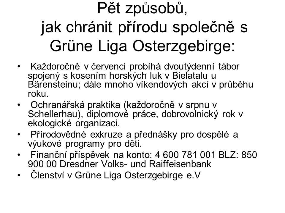 Pět způsobů, jak chránit přírodu společně s Grüne Liga Osterzgebirge:
