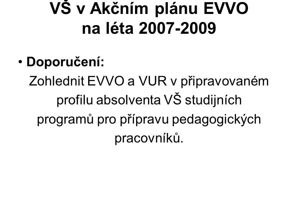 VŠ v Akčním plánu EVVO na léta 2007-2009