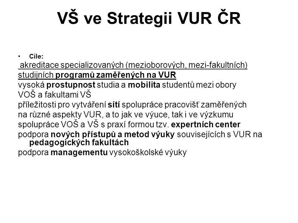 VŠ ve Strategii VUR ČR studijních programů zaměřených na VUR
