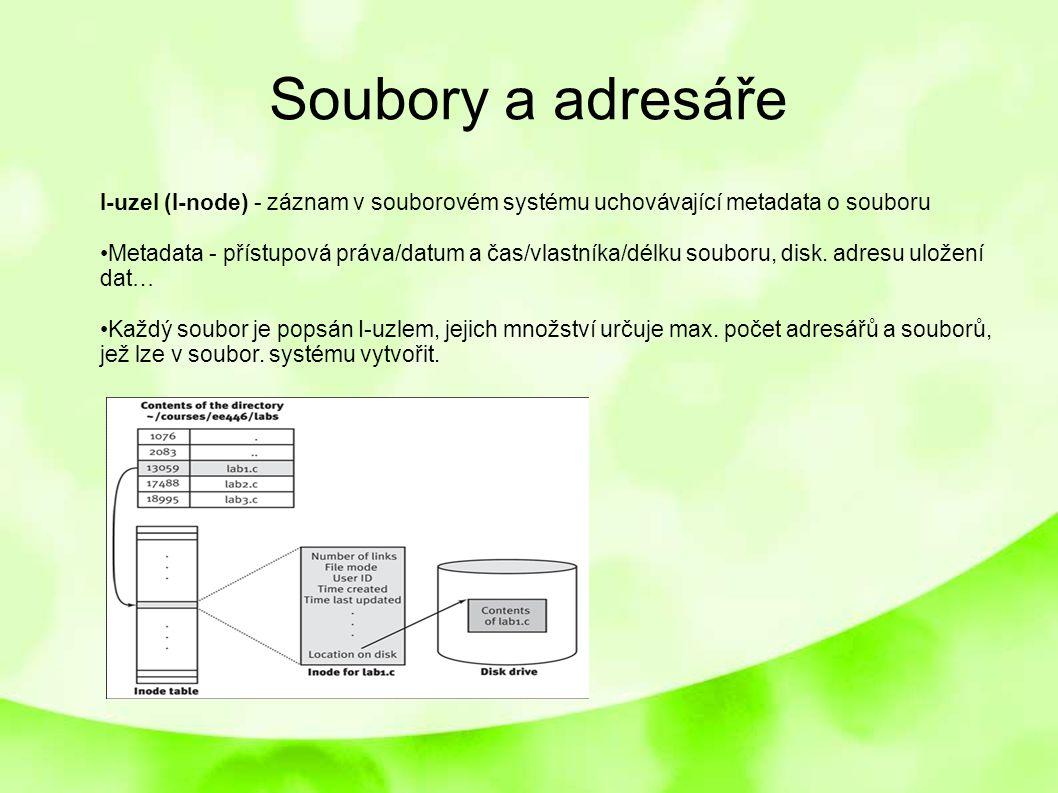 Soubory a adresáře I-uzel (I-node) - záznam v souborovém systému uchovávající metadata o souboru.