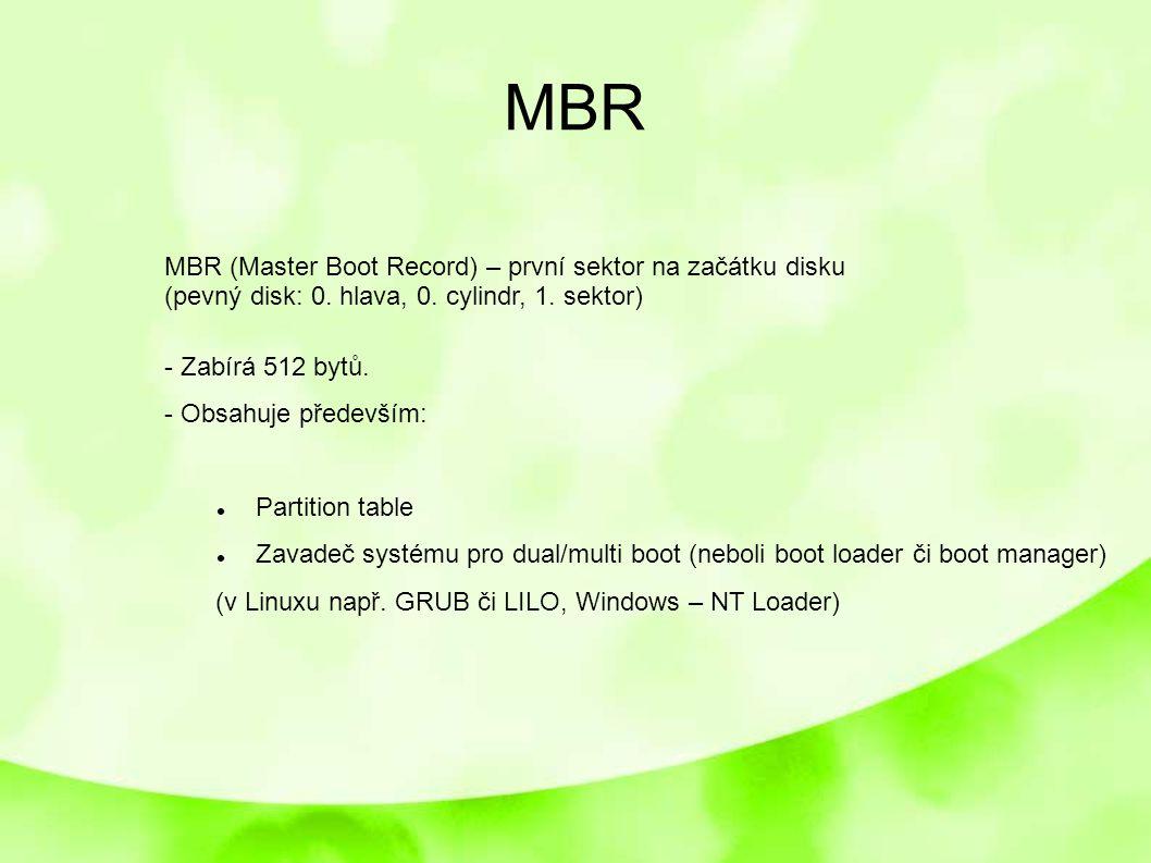 MBR MBR (Master Boot Record) – první sektor na začátku disku