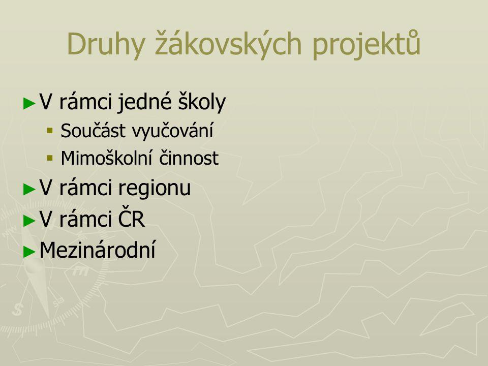 Druhy žákovských projektů