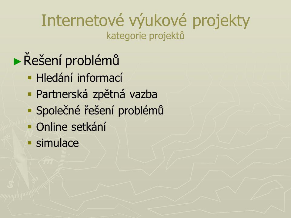 Internetové výukové projekty kategorie projektů