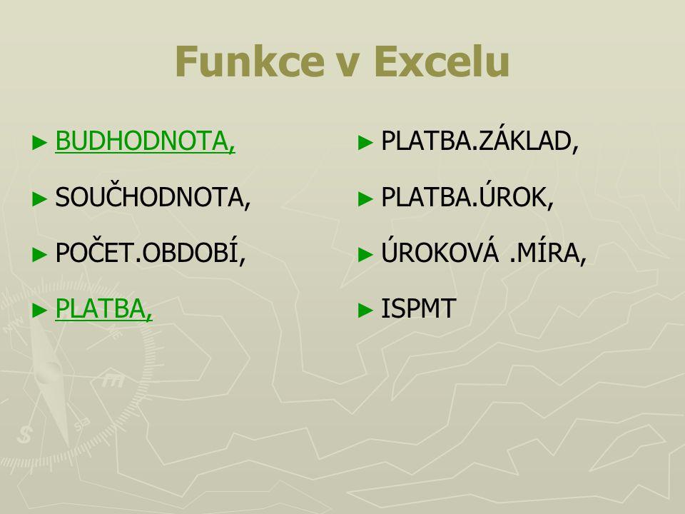 Funkce v Excelu BUDHODNOTA, SOUČHODNOTA, POČET.OBDOBÍ, PLATBA,
