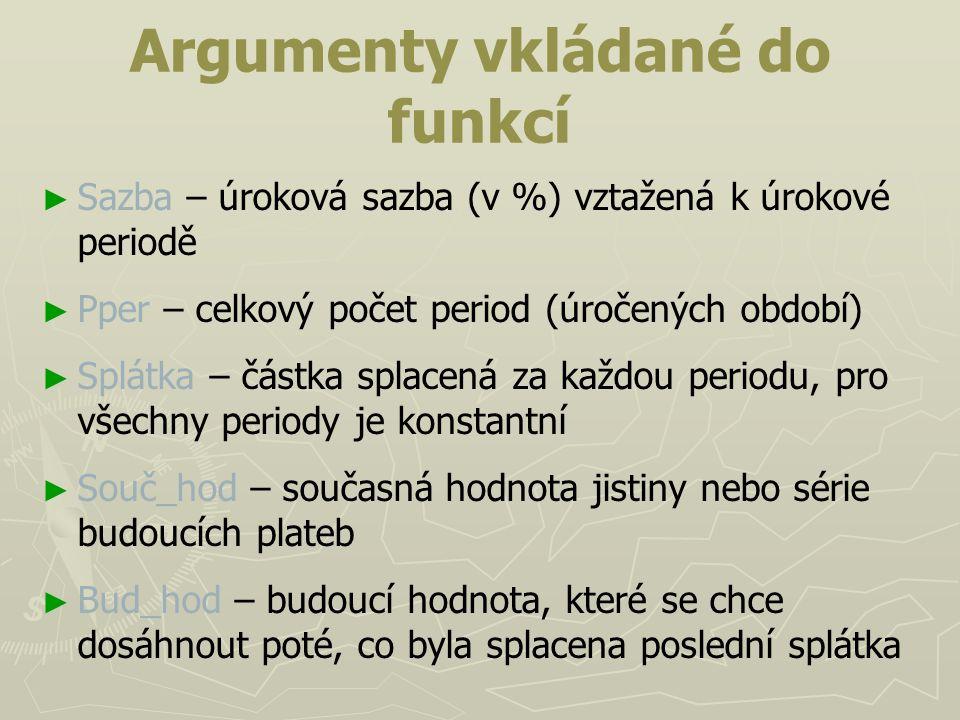 Argumenty vkládané do funkcí