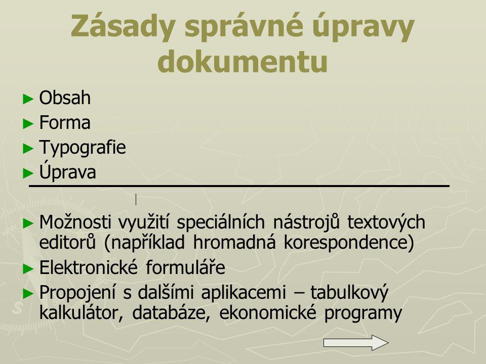 Zásady správné úpravy dokumentu