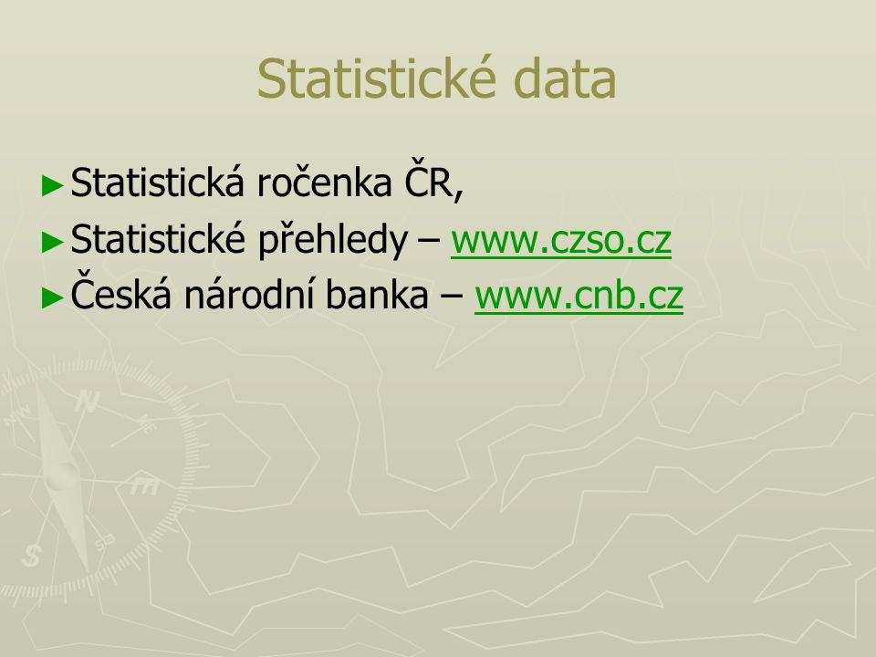Statistické data Statistická ročenka ČR,