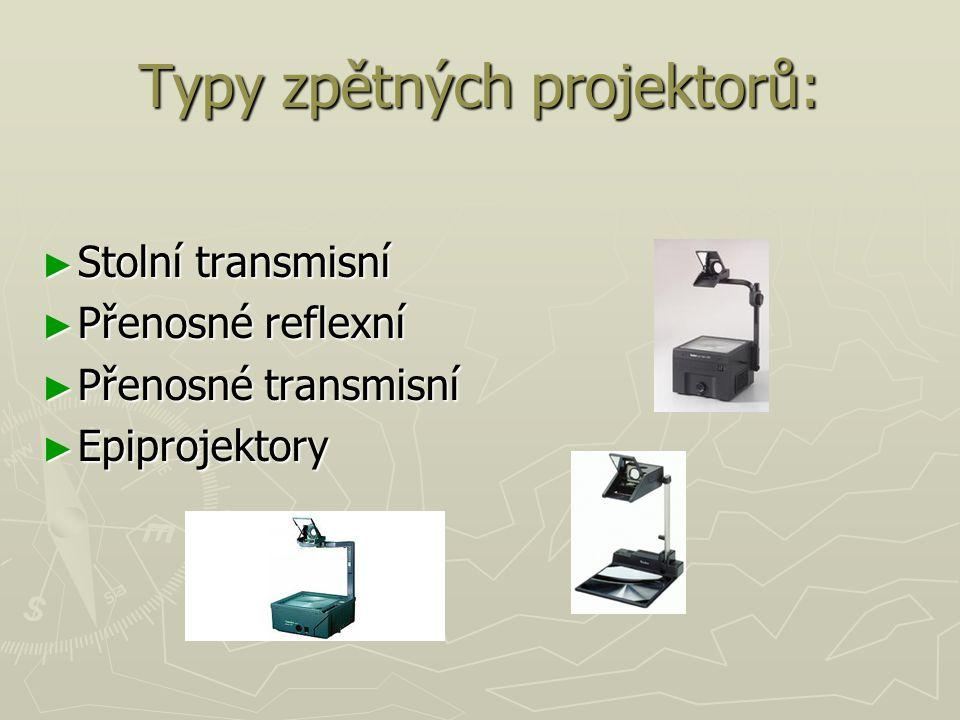 Typy zpětných projektorů: