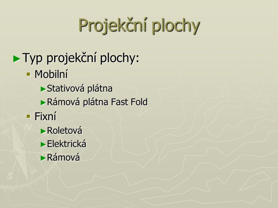 Projekční plochy Typ projekční plochy: Mobilní Fixní Stativová plátna