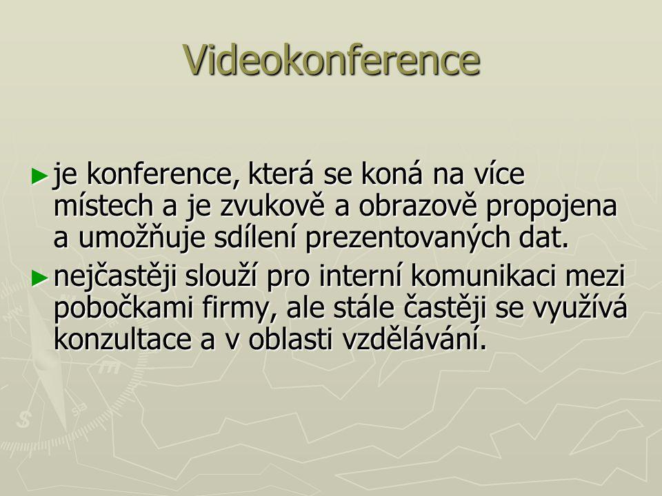 Videokonference je konference, která se koná na více místech a je zvukově a obrazově propojena a umožňuje sdílení prezentovaných dat.