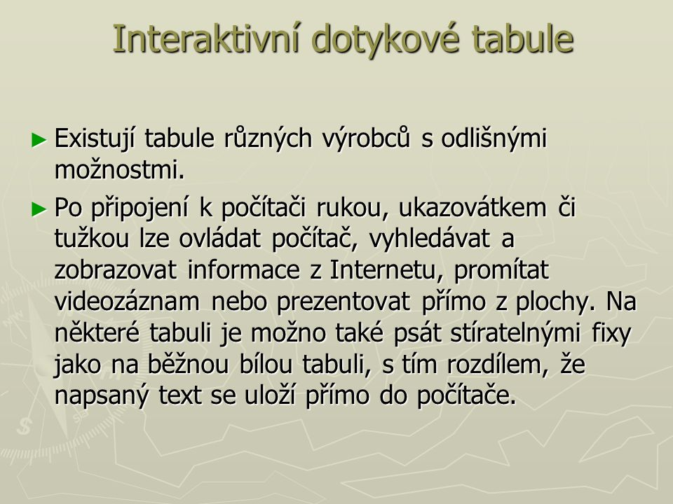 Interaktivní dotykové tabule