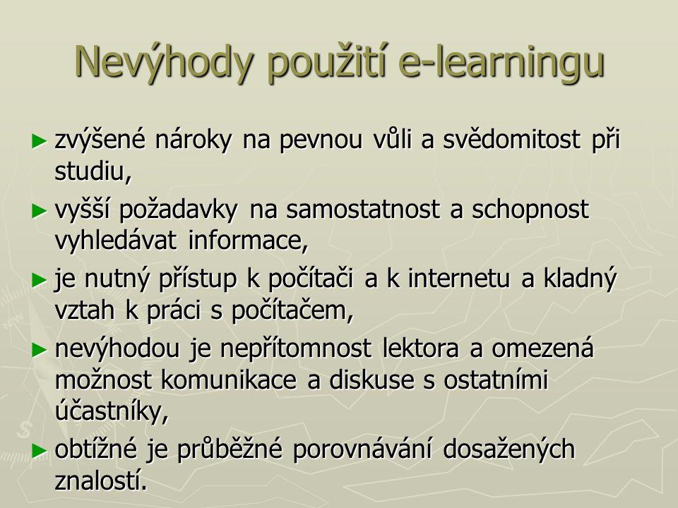 Nevýhody použití e-learningu