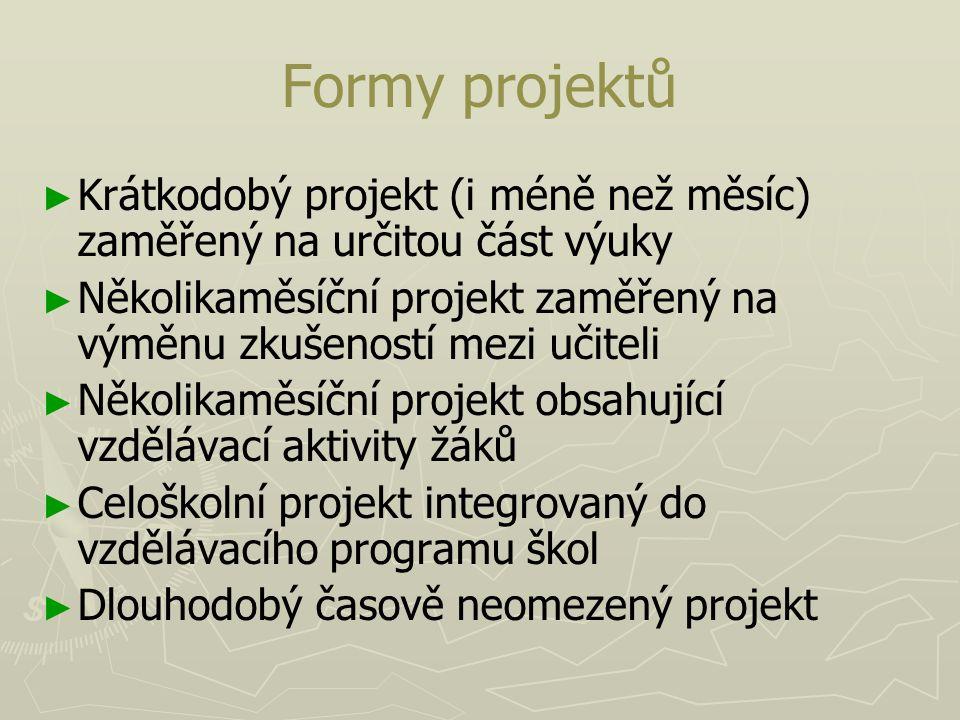 Formy projektů Krátkodobý projekt (i méně než měsíc) zaměřený na určitou část výuky.