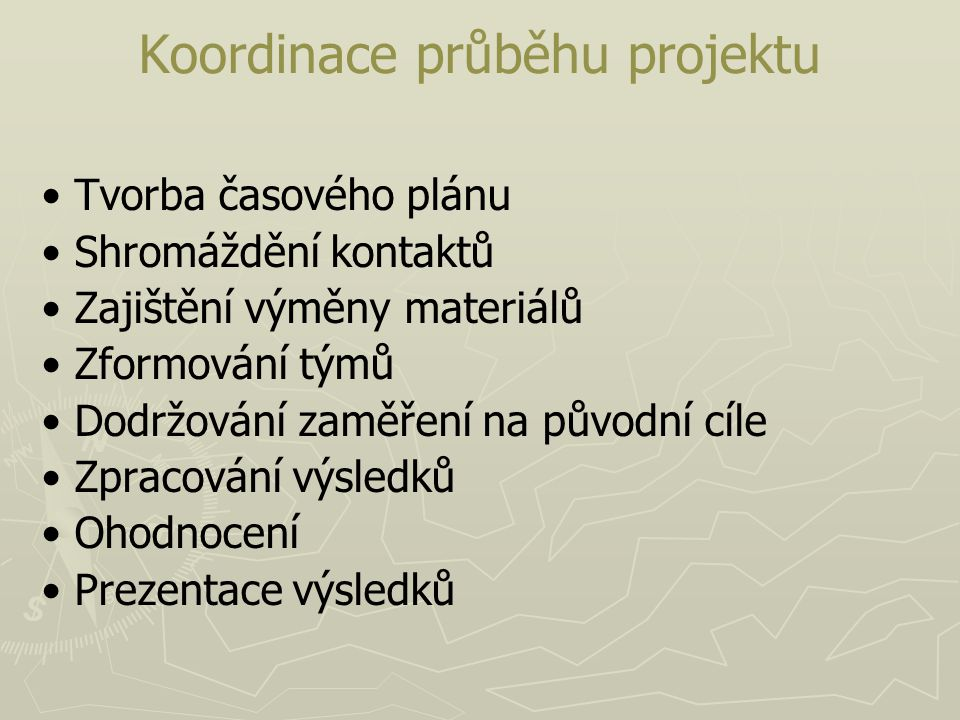 Koordinace průběhu projektu
