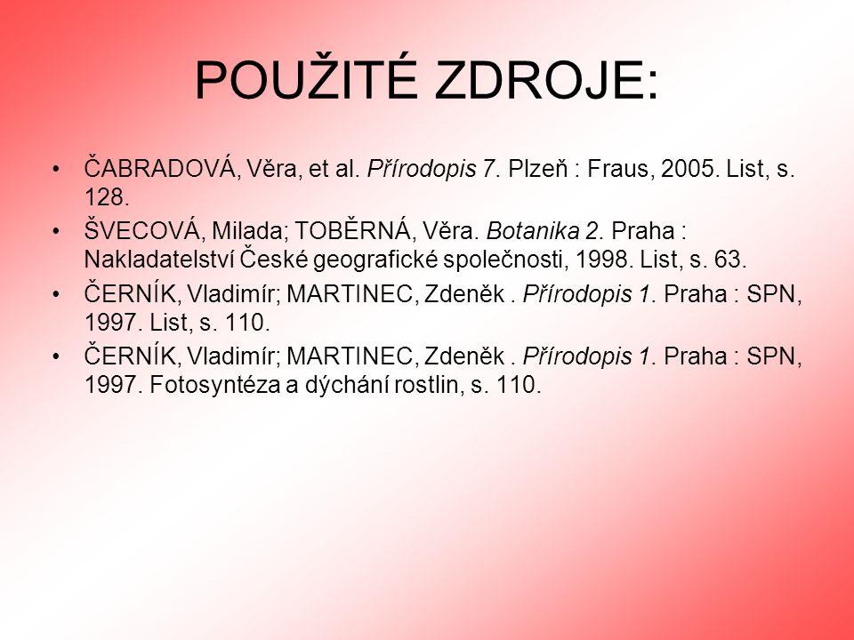 POUŽITÉ ZDROJE: ČABRADOVÁ, Věra, et al. Přírodopis 7. Plzeň : Fraus, 2005. List, s. 128.