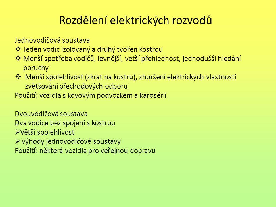 Rozdělení elektrických rozvodů