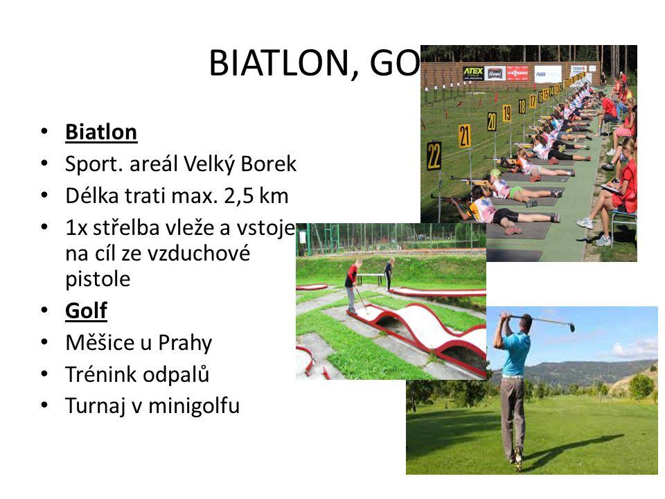 BIATLON, GOLF Biatlon Sport. areál Velký Borek Délka trati max. 2,5 km