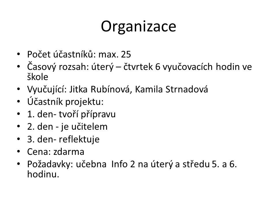 Organizace Počet účastníků: max. 25